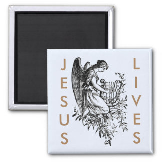 Jesus Lives And Angel With Harp Square Magnet