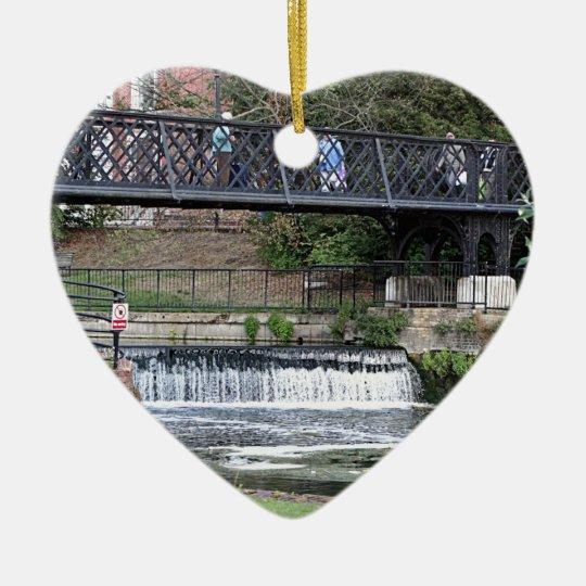 Jesus Lock footbridge, Cambridge Ceramic Heart Decoration