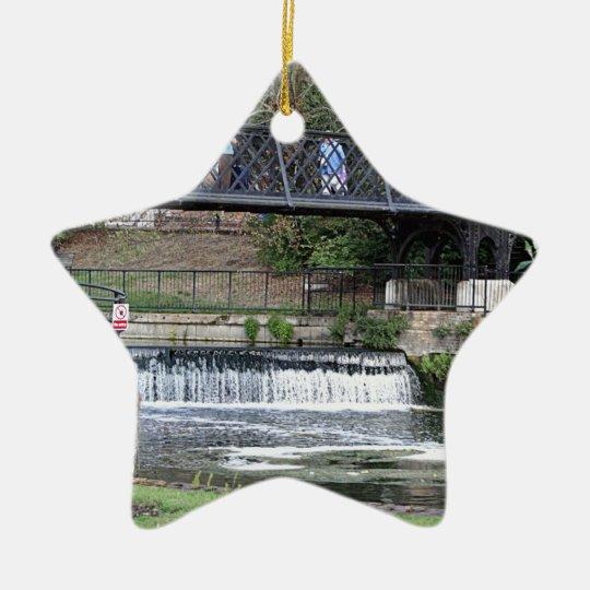 Jesus Lock footbridge, Cambridge Ceramic Star Decoration