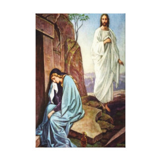 Jesus looking at women Wrapped Canvas Stretched Canvas Print