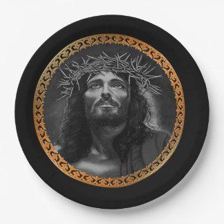 Jesus looking in the heavens paper plate