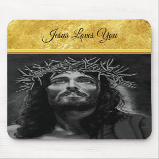 Jesus looking into heaven with a gold foil design mouse pad