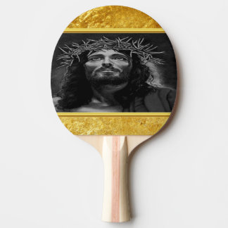 Jesus looking into heaven with a gold foil design ping pong paddle