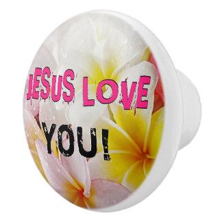JESUS LOVE CERAMIC KNOB