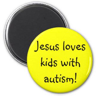 Jesus loves kids with autism! 6 cm round magnet
