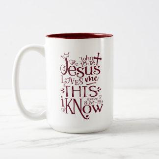 JESUS LOVES ME 15oz Two Tone Mug (Rose/Maroon)