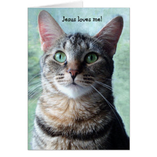 Jesus Loves Me Cat Card