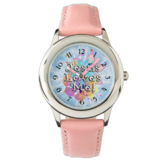 Jesus Loves Me, Pastel Watercolor Watch