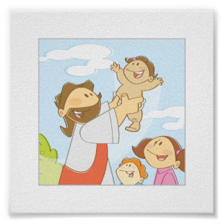 "Jesus Loves The Little Children - 6 x 6"" Poster"
