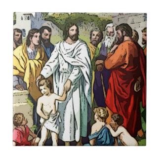 Jesus Loves The Little Children Small Square Tile
