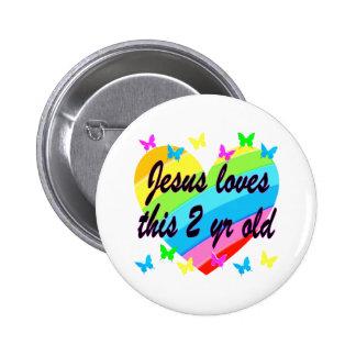 JESUS LOVES THIS 2 YR OLD 2ND BIRTHDAY DESIGN 6 CM ROUND BADGE