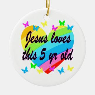 JESUS LOVES THIS 5 YR OLD 5TH BIRTHDAY BLESSING ROUND CERAMIC DECORATION