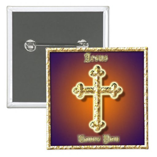 Jesus Loves You 2-inch Square Button