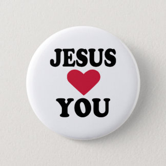 Jesus loves you 6 cm round badge