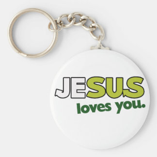 Jesus Loves you Basic Round Button Key Ring