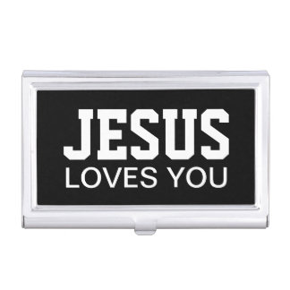 Jesus Loves You Beautiful Black and White Case For Business Cards