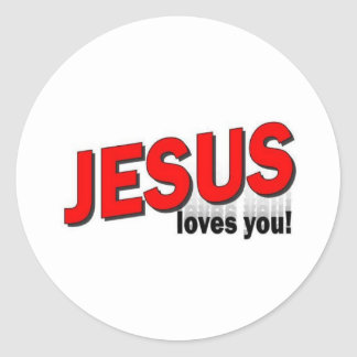 Jesus loves you. classic round sticker