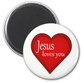 Jesus Loves You Heart Affirmative Magnet