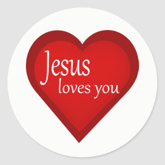 Jesus Loves You Heart Affirmative Sticker