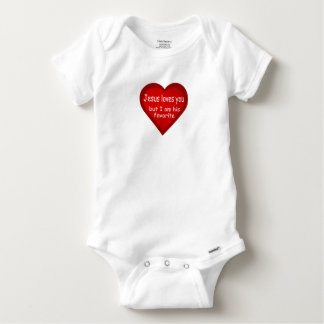 Jesus Loves You Heart Cute Baby Baby Onesie