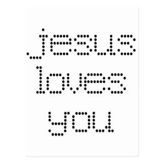 Jesus Loves You in Black Polkadots Postcard
