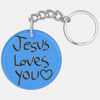 Jesus Loves You Double-Sided Round Acrylic Keychain