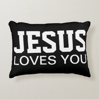 Jesus Loves You Motivational Typography Accent Cushion