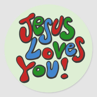 Jesus loves you round sticker