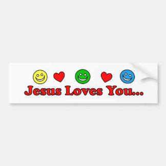 Jesus Loves You - Smiley Heart Bumper Sticker