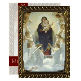 Jesus Mary and Angels - Vintage Fine Art Christmas Card