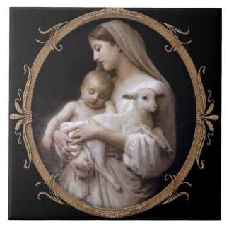 JESUS, MARY AND THE LAMB. LARGE SQUARE TILE
