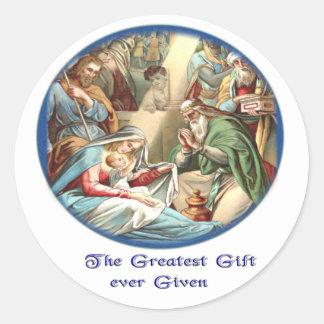 Jesus nativity scene gifts classic round sticker