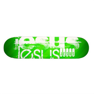 Jesus; Neon Green Stripes Skate Board Deck