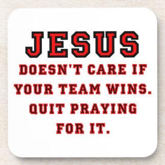 Jesus: Not a Sports Fan Black & Red Coaster