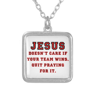 Jesus: Not a Sports Fan Black & Red Silver Plated Necklace