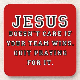 Jesus: Not a Sports Fan Black-White Coaster