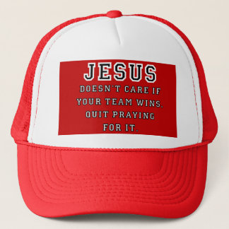 Jesus: Not a Sports Fan Black-White Trucker Hat