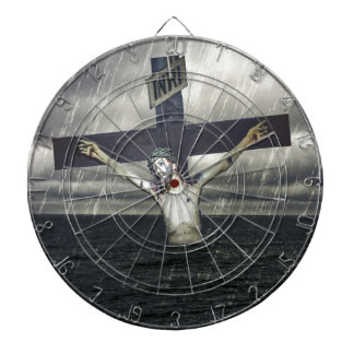 Jesus on the Cross at the Sea Dartboard With Darts