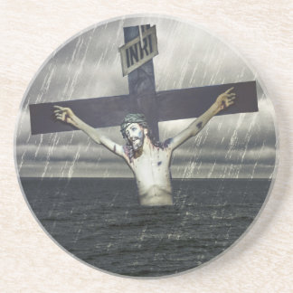 Jesus on the Cross at the Sea Drink Coaster
