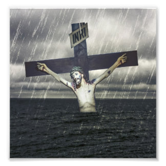Jesus on the Cross at the Sea Photographic Print