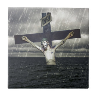 Jesus on the Cross at the Sea Small Square Tile