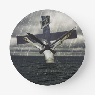 Jesus on the Cross at the Sea Wallclock