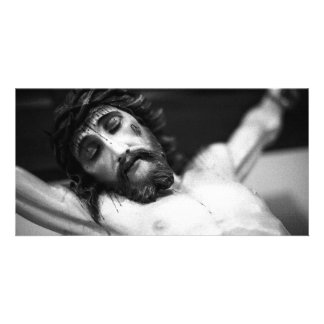 Jesus on the cross customized photo card