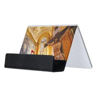 Jesus on the cross desk business card holder