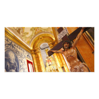 Jesus on the cross personalised photo card