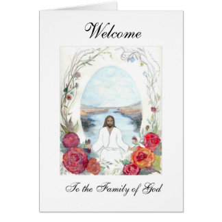 Jesus Oval Welcome Card