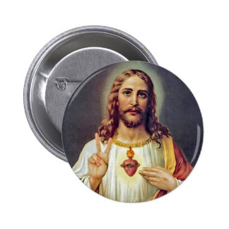 Jesus Peace Sign Sacred Heart 6 Cm Round Badge
