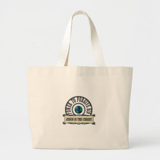 Jesus power forgive sin in world large tote bag