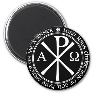 Jesus Prayer with Chi-ro black and white in circle 6 Cm Round Magnet
