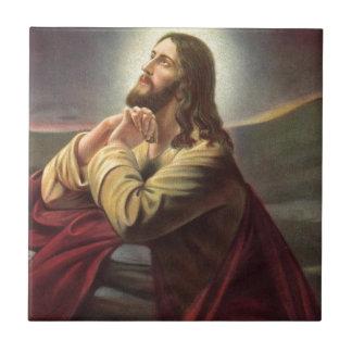 Jesus Praying Small Square Tile